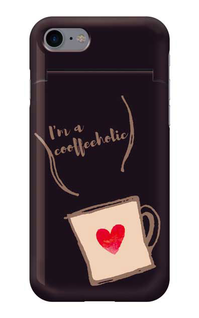 iPhone8のミラー付きケース、コーヒーホリック【スマホケース】
