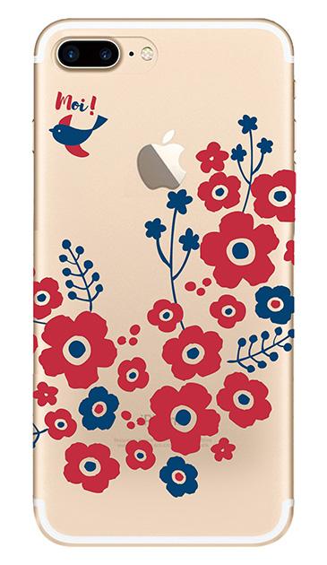 iPhone8 Plusのケース、北欧フラワーバード【スマホケース】