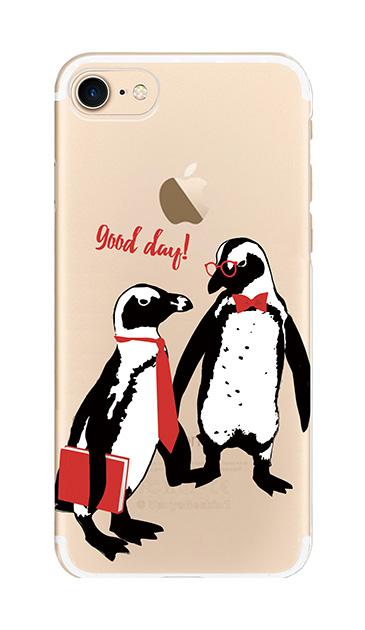 iPhone8のクリア(透明)ケース、ペンギンティーチャーズ【スマホケース】