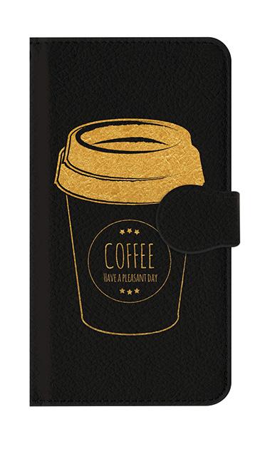 Xperia Z5の手帳型ケース(黒)、ほっとコーヒカップ