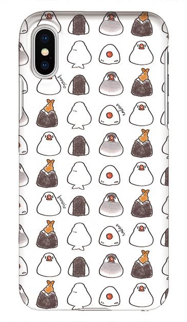 iPhoneXSのケース、おにぎり文鳥たまに天むす【スマホケース】