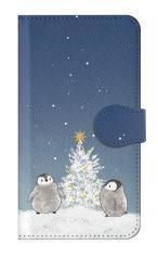 iPhone7対応の手帳型ケース、静かなペンギンの夜【スマホケース】