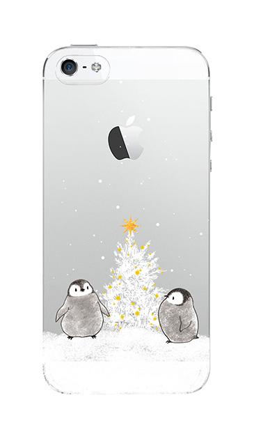 iPhone5Sのクリア(透明)ケース、静かなペンギンの夜【スマホケース】