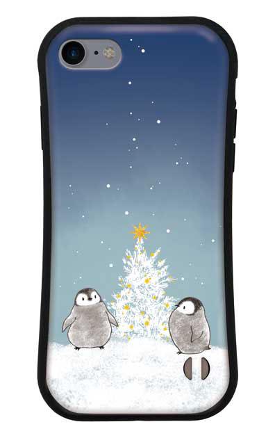 iPhone7のグリップケース、静かなペンギンの夜【スマホケース】