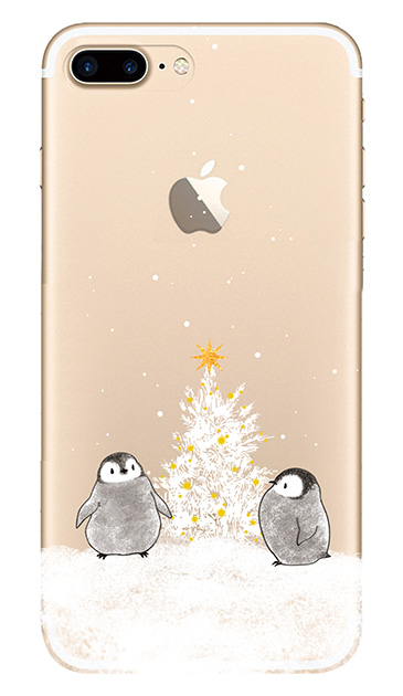 iPhone7 Plusのクリア(透明)ケース、静かなペンギンの夜【スマホケース】