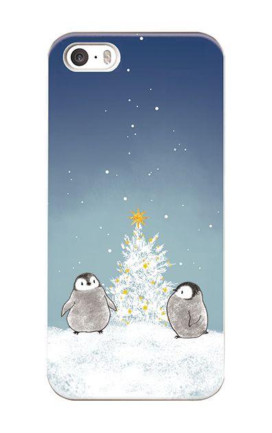 iPhoneSEのケース、静かなペンギンの夜【スマホケース】