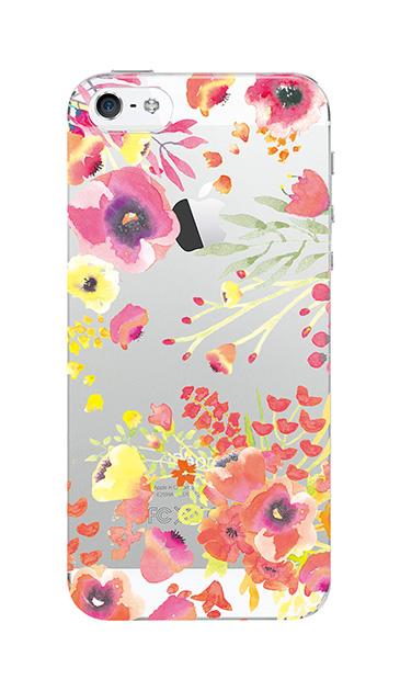 iPhone5Sのクリア(透明)ケース、水彩フラワー・パンジー