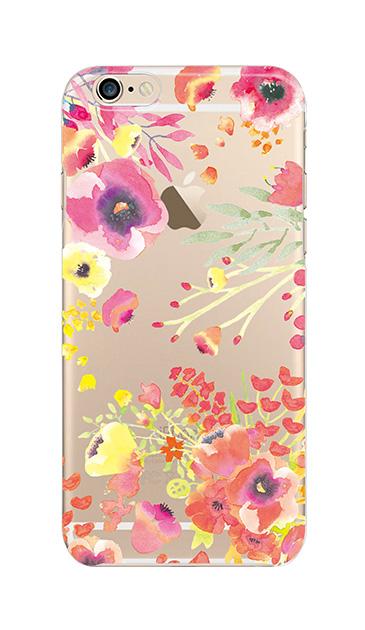 iPhone6sのクリア(透明)ケース、水彩フラワー・パンジー