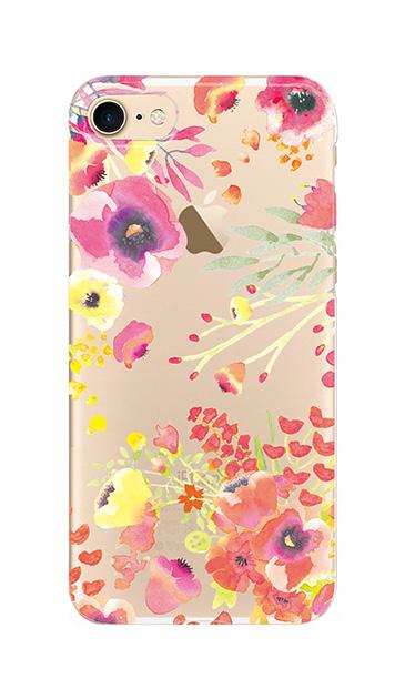 iPhone7のクリア(透明)ケース、水彩フラワー・パンジー