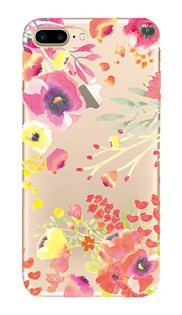 iPhone7 Plusのクリア(透明)ケース、水彩フラワー・パンジー