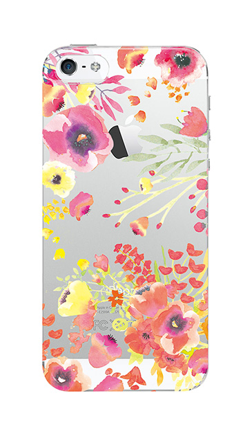 iPhoneSEのケース、水彩フラワー・パンジー