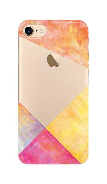 iPhone7のクリア(透明)ケース、朝焼けパステルパレット【スマホケース】