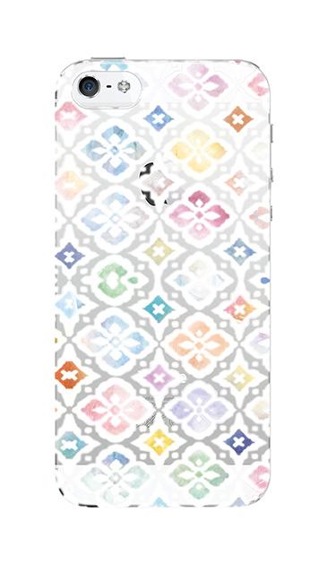 iPhoneSEのクリア(透明)ケース、フラワーモロッコ