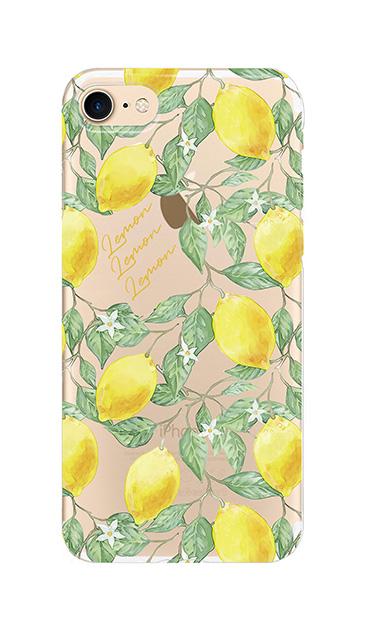 iPhone7のクリア(透明)ケース、アートなレモン