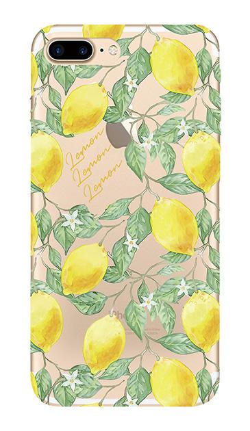 iPhone7 Plusのクリア(透明)ケース、アートなレモン
