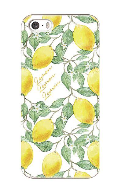 iPhoneSEのハードケース、アートなレモン