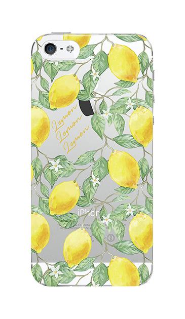 iPhoneSEのクリア(透明)ケース、アートなレモン