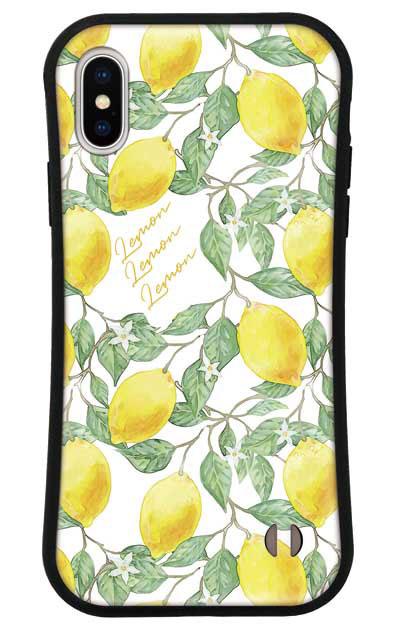iPhoneXのグリップケース、アートなレモン
