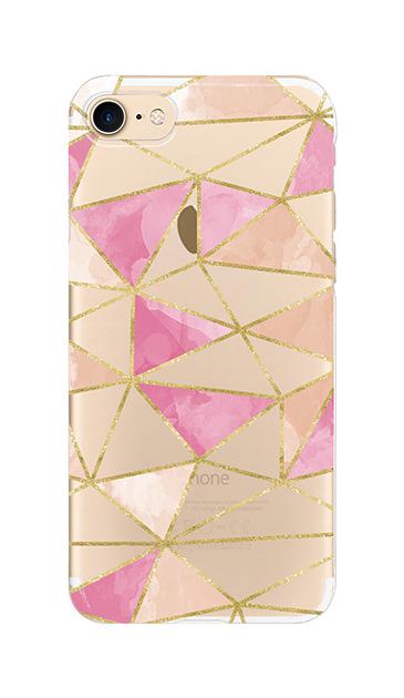 iPhone8のクリア(透明)ケース、ラメラインパレット【スマホケース】