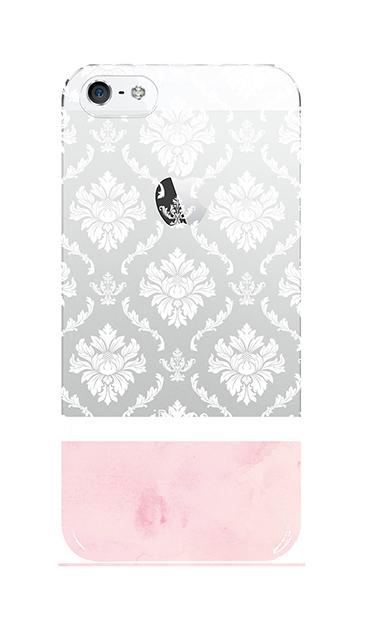 iPhoneSEのクリア(透明)ケース、ツインダマスク・水彩