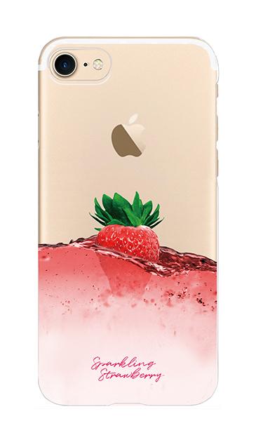 iPhone8のクリア(透明)ケース、ツインストロベリーシャンパン【スマホケース】