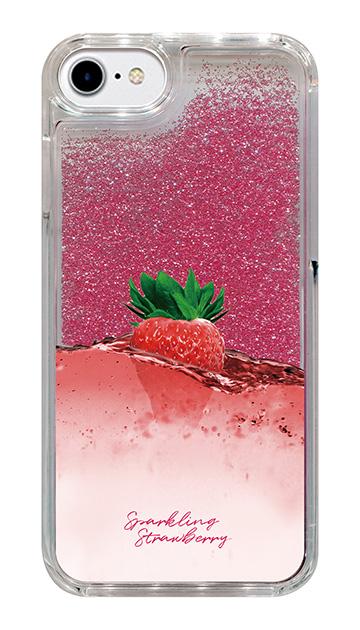 iPhone8のグリッターケース、ツインストロベリーシャンパン【スマホケース】