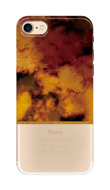 iPhone8のクリア(透明)ケース、ツインマーブル・アンバー【スマホケース】