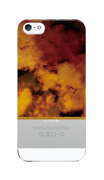 iPhoneSEのクリア(透明)ケース、ツインマーブル・アンバー
