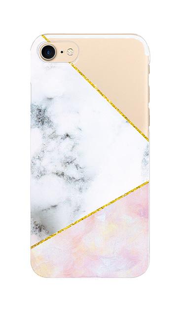 iPhone7のクリア(透明)ケース、大理石ツインライン