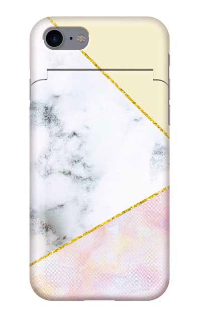iPhone7のミラー付きケース、大理石ツインライン【スマホケース】