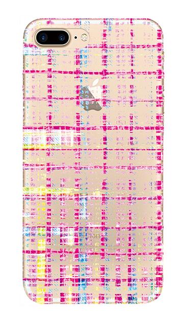 iPhone7 Plusのクリア(透明)ケース、カラーチェックツイード【スマホケース】