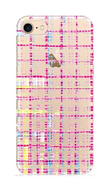 iPhone8のクリア(透明)ケース、カラーチェックツイード【スマホケース】