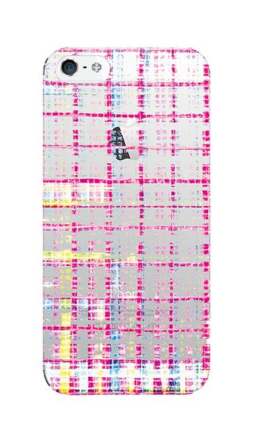 iPhoneSEのクリア(透明)ケース、カラーチェックツイード【スマホケース】