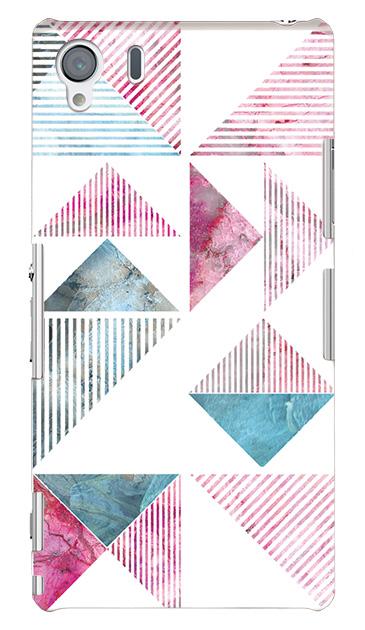 Xperia Z1のケース、マーブルストライプトライアングル【スマホケース】
