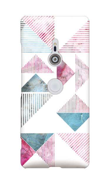 Xperia XZ3のケース、マーブルストライプトライアングル【スマホケース】