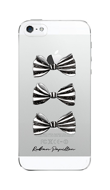 iPhone5Sのクリア(透明)ケース、スリーストライプリボン【スマホケース】
