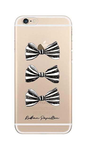 iPhone6sのクリア(透明)ケース、スリーストライプリボン【スマホケース】