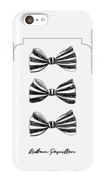 iPhone6sのミラー付きケース、スリーストライプリボン【スマホケース】