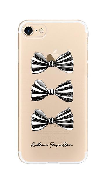 iPhone7のクリア(透明)ケース、スリーストライプリボン【スマホケース】