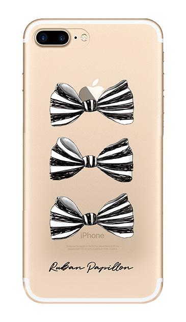 iPhone7 Plusのクリア(透明)ケース、スリーストライプリボン【スマホケース】