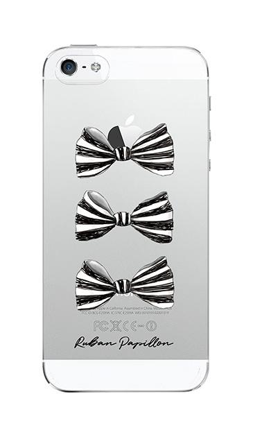 iPhoneSEのクリア(透明)ケース、スリーストライプリボン【スマホケース】