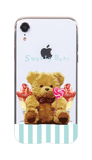 iPhoneXRのケース、ツインストライプスイーツベア【スマホケース】