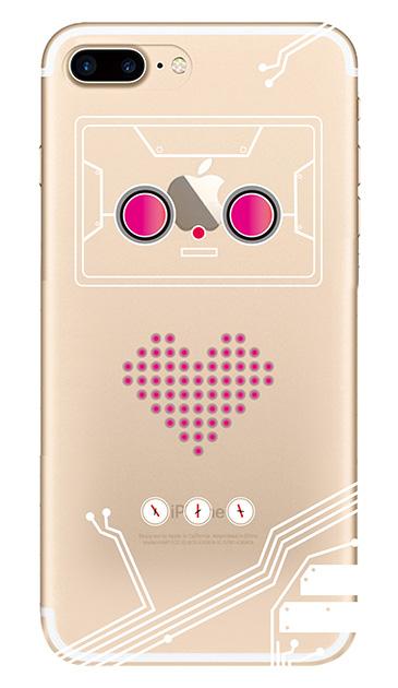 iPhone7 Plusのクリア(透明)ケース、ハートロボット