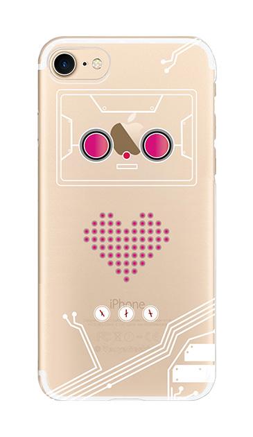 iPhone8のクリア(透明)ケース、ハートロボット【スマホケース】