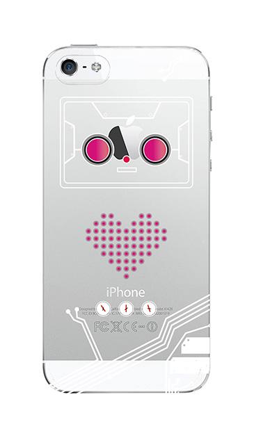 iPhoneSEのクリア(透明)ケース、ハートロボット