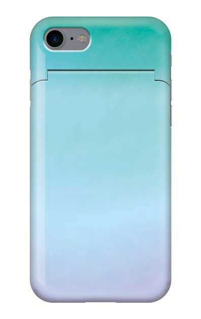 iPhone8のミラー付きケース、水彩グラデーション【スマホケース】