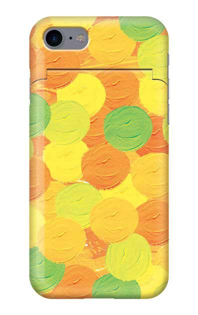 iPhone8のミラー付きケース、まんまるペンキ【スマホケース】