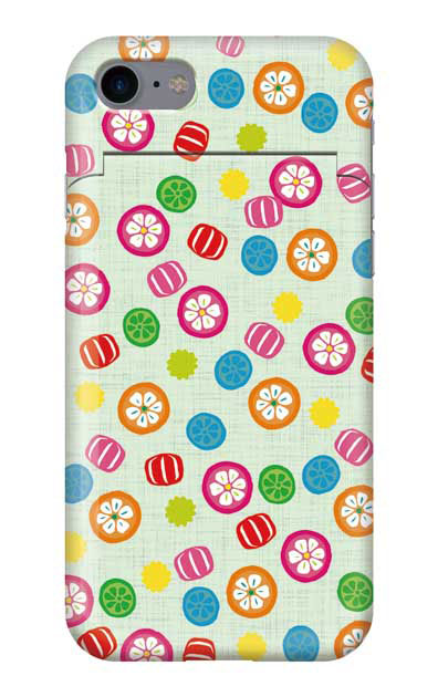iPhone7のミラー付きケース、手まり飴【スマホケース】