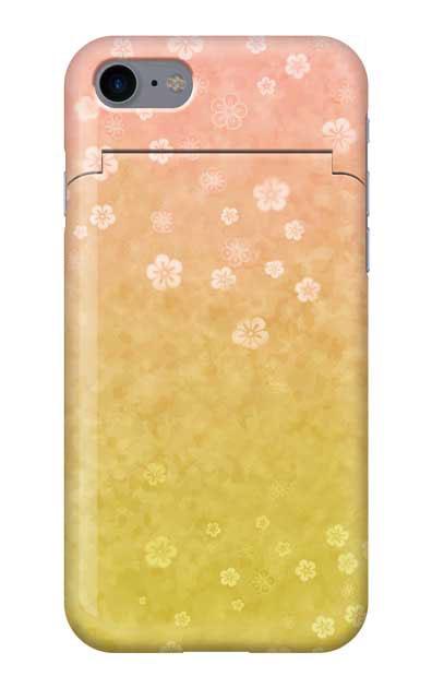 iPhone8のミラー付きケース、和桜グラデーション【スマホケース】