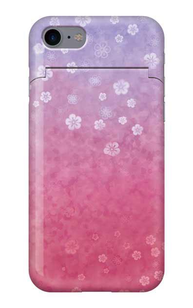 iPhone7のミラー付きケース、和桜グラデーション【スマホケース】